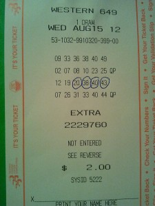 Western Lotto 649 Winning Ticket