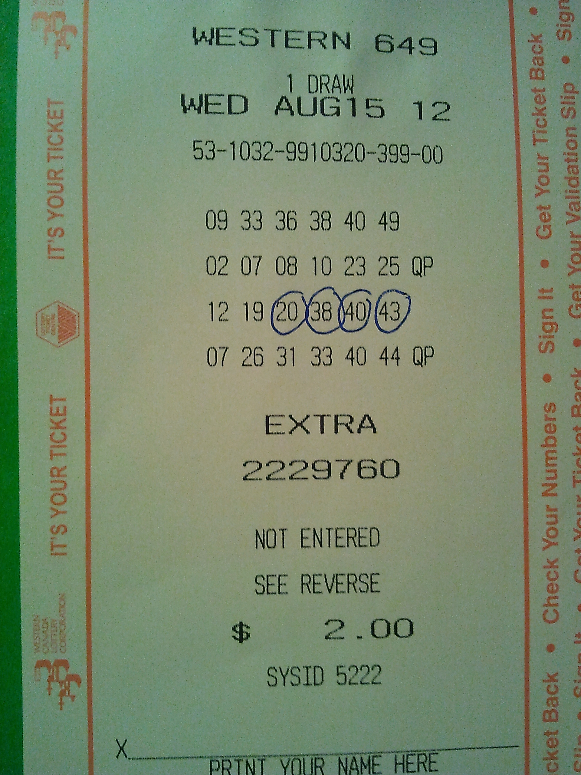 Western Lotto 649 Winning Ticket