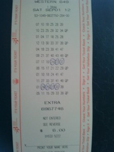 Western 649 Winning Lottery ticket