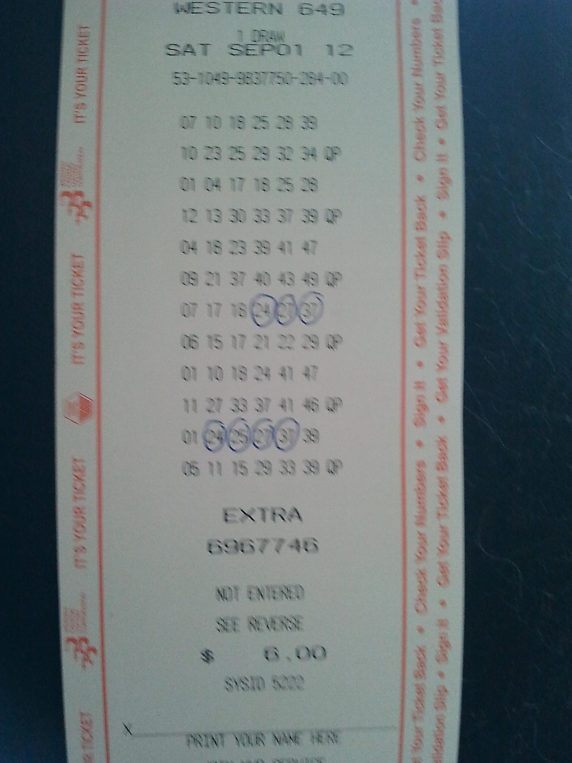 Western 649 Winning Lottery ticket